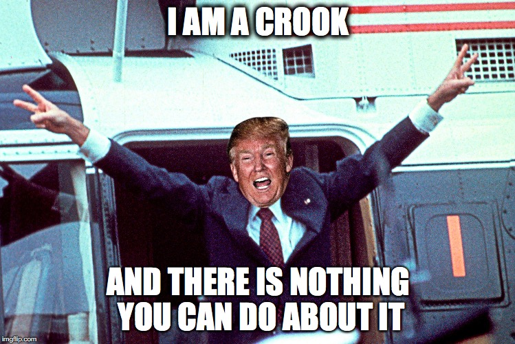 Nixon Trump | I AM A CROOK AND THERE IS NOTHING YOU CAN DO ABOUT IT | image tagged in nixon,trump,crook,scandal,watergate | made w/ Imgflip meme maker