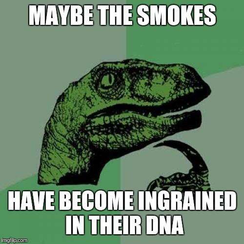 Philosoraptor Meme | MAYBE THE SMOKES HAVE BECOME INGRAINED IN THEIR DNA | image tagged in memes,philosoraptor | made w/ Imgflip meme maker