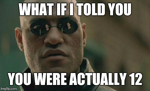 Matrix Morpheus Meme | WHAT IF I TOLD YOU YOU WERE ACTUALLY 12 | image tagged in memes,matrix morpheus | made w/ Imgflip meme maker