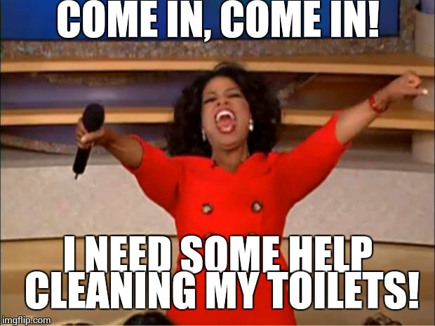 Oprah You Get A Meme | COME IN, COME IN! I NEED SOME HELP CLEANING MY TOILETS! | image tagged in memes,oprah you get a | made w/ Imgflip meme maker
