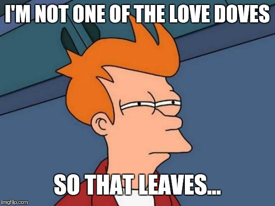 Futurama Fry Meme | I'M NOT ONE OF THE LOVE DOVES SO THAT LEAVES... | image tagged in memes,futurama fry | made w/ Imgflip meme maker