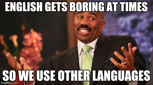 Steve Harvey Meme | ENGLISH GETS BORING AT TIMES SO WE USE OTHER LANGUAGES | image tagged in memes,steve harvey | made w/ Imgflip meme maker
