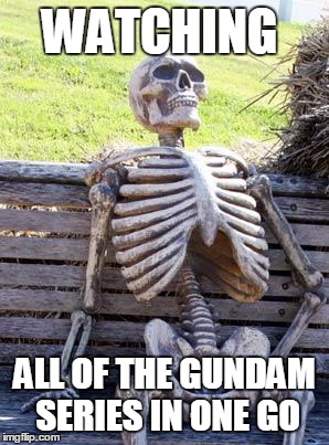Waiting Skeleton Meme | WATCHING ALL OF THE GUNDAM SERIES IN ONE GO | image tagged in memes,waiting skeleton | made w/ Imgflip meme maker
