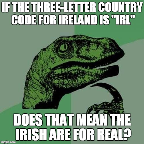 "Philosoraptor Meme | IF THE THREE-LETTER COUNTRY CODE FOR IRELAND IS ""IRL"" DOES THAT MEAN THE IRISH ARE FOR REAL? 