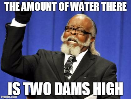 Too Damn High Meme | THE AMOUNT OF WATER THERE IS TWO DAMS HIGH | image tagged in memes,too damn high | made w/ Imgflip meme maker