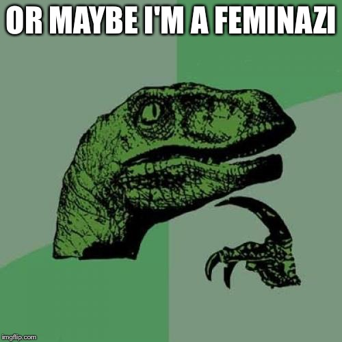 Philosoraptor Meme | OR MAYBE I'M A FEMINAZI | image tagged in memes,philosoraptor | made w/ Imgflip meme maker