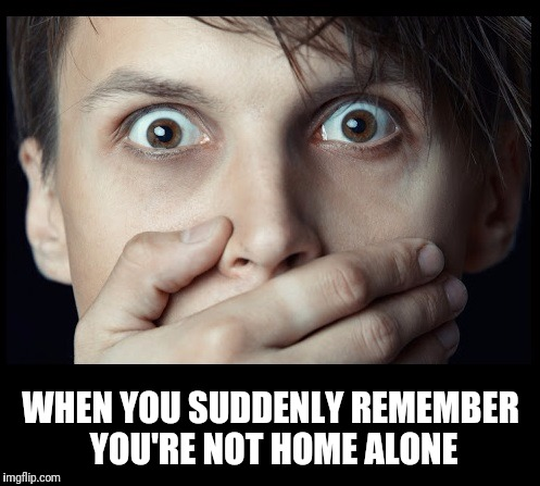 oh my | WHEN YOU SUDDENLY REMEMBER YOU'RE NOT HOME ALONE | image tagged in oh my | made w/ Imgflip meme maker