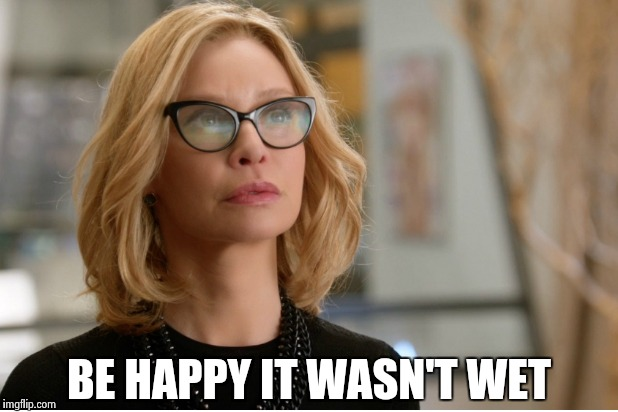 Callista Flockhart | BE HAPPY IT WASN'T WET | image tagged in callista flockhart | made w/ Imgflip meme maker