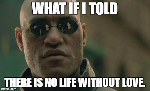 Matrix Morpheus Meme | WHAT IF I TOLD THERE IS NO LIFE WITHOUT LOVE. | image tagged in memes,matrix morpheus | made w/ Imgflip meme maker