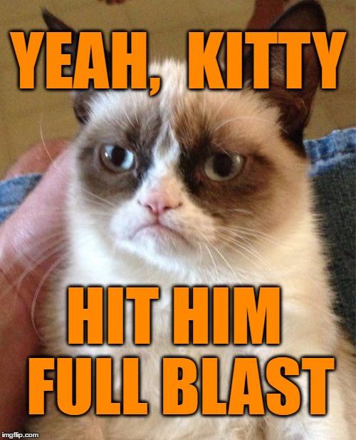 Grumpy Cat Meme | YEAH,  KITTY HIT HIM FULL BLAST | image tagged in memes,grumpy cat | made w/ Imgflip meme maker