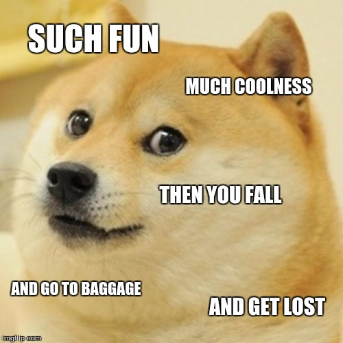 Doge Meme | SUCH FUN MUCH COOLNESS THEN YOU FALL AND GO TO BAGGAGE AND GET LOST | image tagged in memes,doge | made w/ Imgflip meme maker