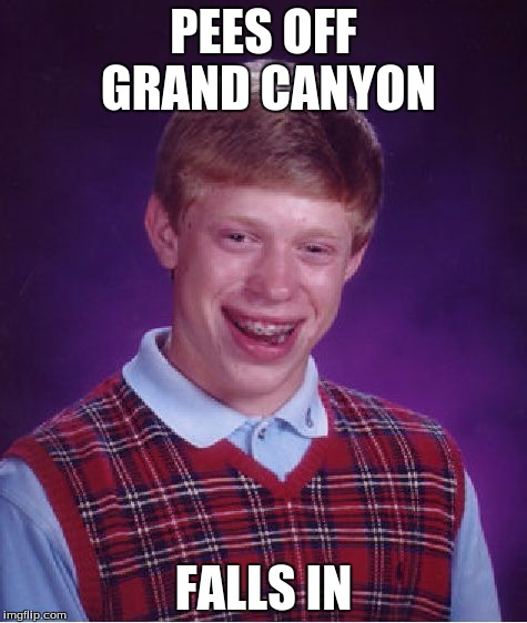 Bad Luck Brian Meme | PEES OFF GRAND CANYON FALLS IN | image tagged in memes,bad luck brian | made w/ Imgflip meme maker