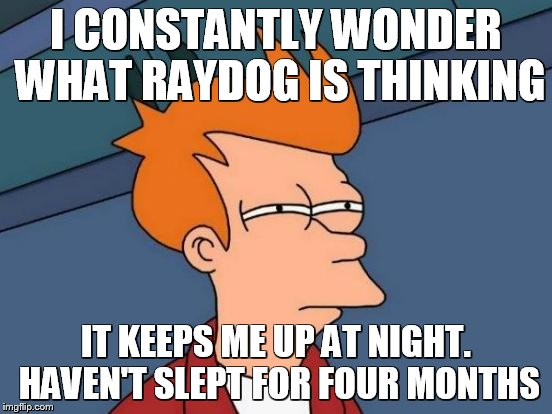 I CONSTANTLY WONDER WHAT RAYDOG IS THINKING IT KEEPS ME UP AT NIGHT. HAVEN'T SLEPT FOR FOUR MONTHS | image tagged in memes,futurama fry | made w/ Imgflip meme maker