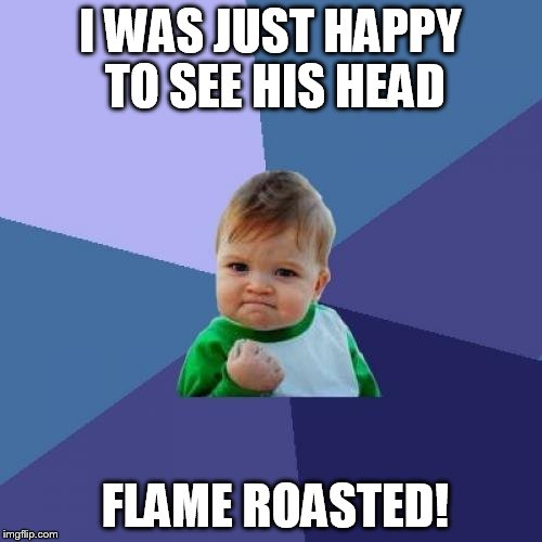Success Kid Meme | I WAS JUST HAPPY TO SEE HIS HEAD FLAME ROASTED! | image tagged in memes,success kid | made w/ Imgflip meme maker