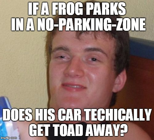 Really huy gie | IF A FROG PARKS IN A NO-PARKING-ZONE DOES HIS CAR TECHICALLY GET TOAD AWAY? | image tagged in memes,10 guy | made w/ Imgflip meme maker