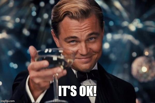 Leonardo Dicaprio Cheers Meme | IT'S OK! | image tagged in memes,leonardo dicaprio cheers | made w/ Imgflip meme maker