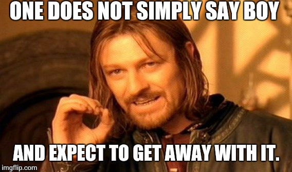 One Does Not Simply Meme | ONE DOES NOT SIMPLY SAY BOY AND EXPECT TO GET AWAY WITH IT. | image tagged in memes,one does not simply | made w/ Imgflip meme maker