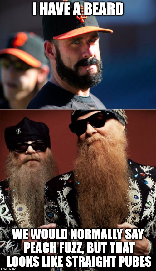 Brian Wilson Vs ZZ Top | I HAVE A BEARD WE WOULD NORMALLY SAY PEACH FUZZ, BUT THAT LOOKS LIKE STRAIGHT PUBES | image tagged in memes,brian wilson vs zz top | made w/ Imgflip meme maker