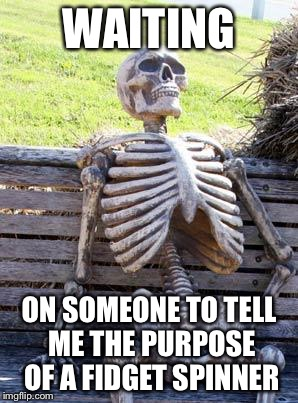 Waiting Skeleton Meme | WAITING ON SOMEONE TO TELL ME THE PURPOSE OF A FIDGET SPINNER | image tagged in memes,waiting skeleton | made w/ Imgflip meme maker