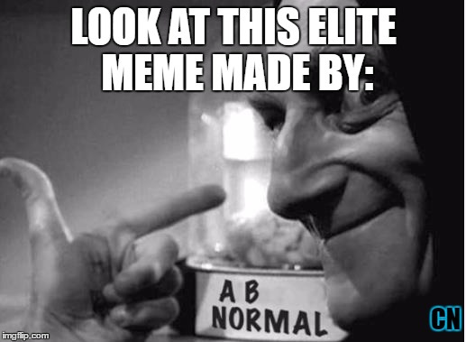 ABBY NORMAL <3 YOU | LOOK AT THIS ELITE MEME MADE BY: CN | image tagged in abby normal 3 you | made w/ Imgflip meme maker