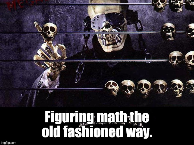 Megadeth | Figuring math the old fashioned way. | image tagged in megadeth | made w/ Imgflip meme maker