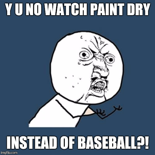 Y U No Meme | Y U NO WATCH PAINT DRY INSTEAD OF BASEBALL?! | image tagged in memes,y u no | made w/ Imgflip meme maker