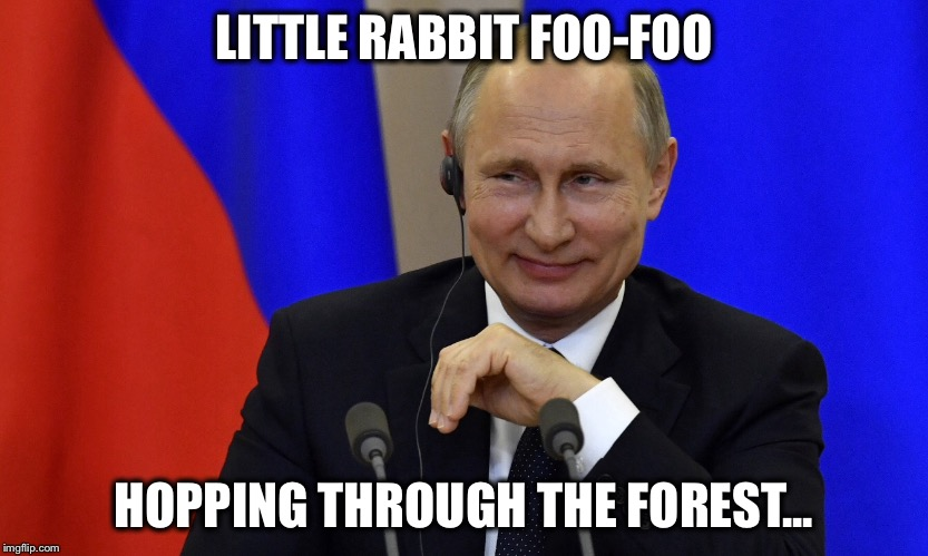 Puppet master at work | LITTLE RABBIT FOO-FOO HOPPING THROUGH THE FOREST... | image tagged in vladimir putin,puppet | made w/ Imgflip meme maker