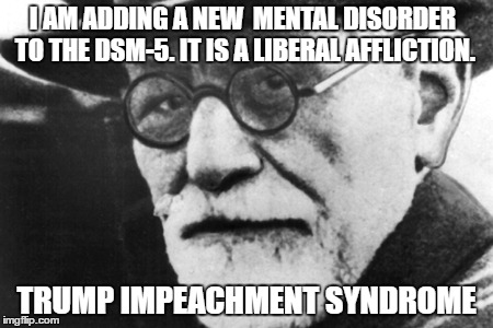 After dealing with the complaints of the White Left and their Trump Derangement Syndrome Sigmund has identified a new disorder | I AM ADDING A NEW  MENTAL DISORDER TO THE DSM-5. IT IS A LIBERAL AFFLICTION. TRUMP IMPEACHMENT SYNDROME | image tagged in sigmund freud,donald trump approves,election 2016 aftermath,psychology,liberals vs conservatives,impeach trump | made w/ Imgflip meme maker