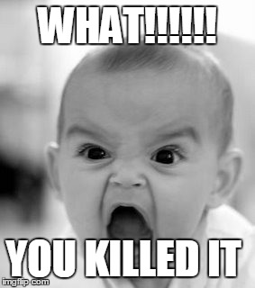 Angry Baby Meme | WHAT!!!!!! YOU KILLED IT | image tagged in memes,angry baby | made w/ Imgflip meme maker