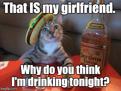Tequila | That IS my girlfriend. Why do you think I'm drinking tonight? | image tagged in tequila | made w/ Imgflip meme maker