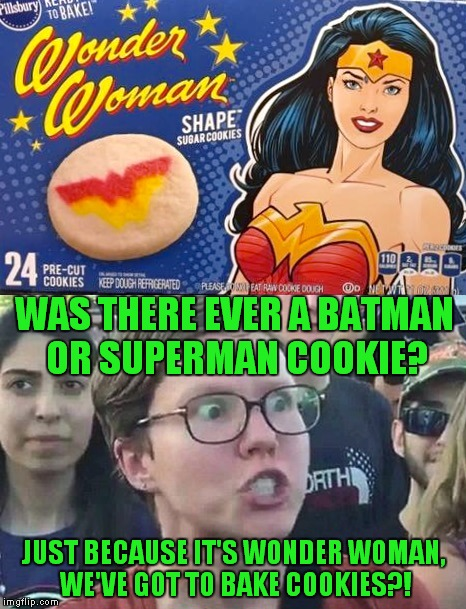 Diana, make me a samich and some more o' them cookies pronto! | WAS THERE EVER A BATMAN OR SUPERMAN COOKIE? JUST BECAUSE IT'S WONDER WOMAN, WE'VE GOT TO BAKE COOKIES?! | image tagged in wonder woman,cookies,superheroes,triggered,sexist | made w/ Imgflip meme maker