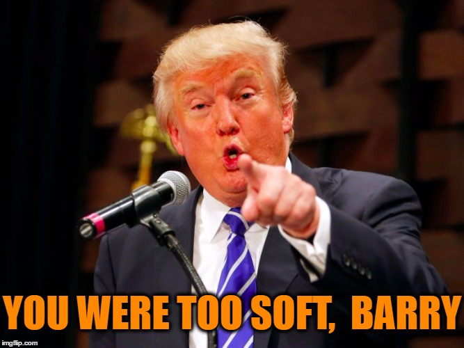 trump point | YOU WERE TOO SOFT,  BARRY | image tagged in trump point | made w/ Imgflip meme maker