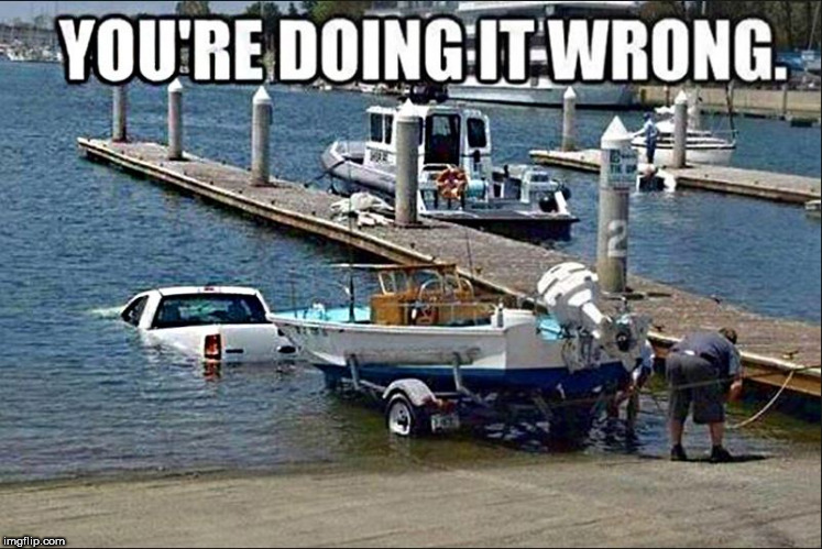 .                      . | image tagged in boat,boat ramp,truck in water,that didn't work,oops | made w/ Imgflip meme maker