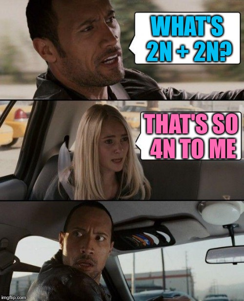 The Rock Driving Meme | WHAT'S 2N + 2N? THAT'S SO 4N TO ME | image tagged in memes,the rock driving | made w/ Imgflip meme maker