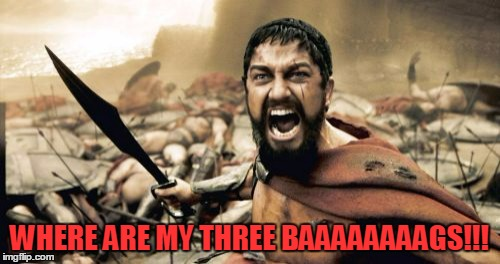 Sparta Leonidas Meme | WHERE ARE MY THREE BAAAAAAAAGS!!! | image tagged in memes,sparta leonidas | made w/ Imgflip meme maker