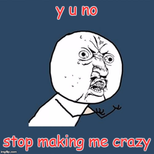 Life in a Nutshell | y u no stop making me crazy | image tagged in memes,y u no,crazy,funny,life | made w/ Imgflip meme maker