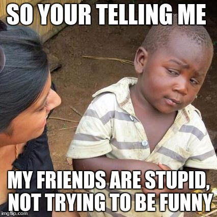 Third World Skeptical Kid Meme | SO YOUR TELLING ME MY FRIENDS ARE STUPID, NOT TRYING TO BE FUNNY | image tagged in memes,third world skeptical kid | made w/ Imgflip meme maker