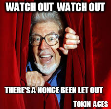 WATCH OUT  WATCH OUT; THERE'S A NONCE BEEN LET OUT; TOKIN  ACES | image tagged in rolf harris,watch out,there's a nonce been let out,funny,funny memes | made w/ Imgflip meme maker