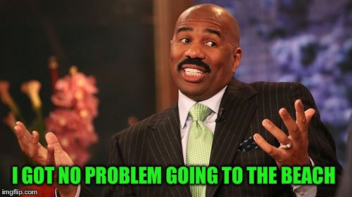 Steve Harvey Meme | I GOT NO PROBLEM GOING TO THE BEACH | image tagged in memes,steve harvey | made w/ Imgflip meme maker