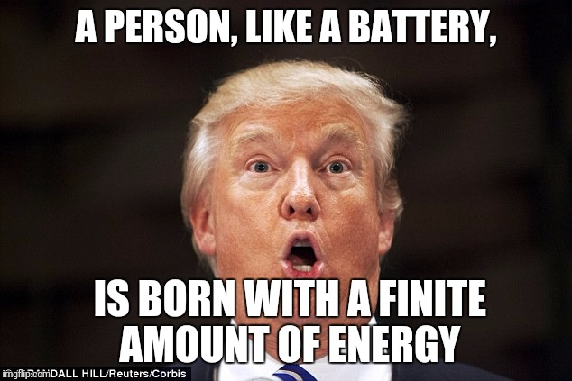 Trump stupid face | A PERSON, LIKE A BATTERY, IS BORN WITH A FINITE AMOUNT OF ENERGY | image tagged in trump stupid face | made w/ Imgflip meme maker