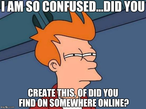 Futurama Fry Meme | I AM SO CONFUSED...DID YOU CREATE THIS, OF DID YOU FIND ON SOMEWHERE ONLINE? | image tagged in memes,futurama fry | made w/ Imgflip meme maker