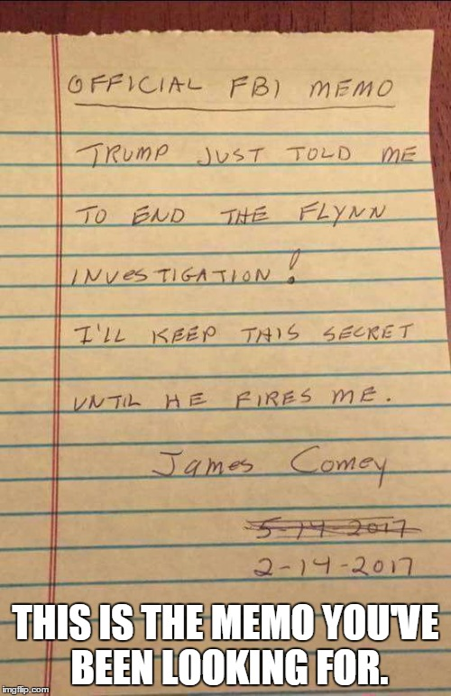 BREAKING NEWS: Comey Memo Released. | THIS IS THE MEMO YOU'VE BEEN LOOKING FOR. | image tagged in fbi director james comey,james comey,comey,comeyfired | made w/ Imgflip meme maker