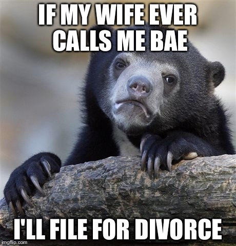 Confession Bear Meme | IF MY WIFE EVER CALLS ME BAE I'LL FILE FOR DIVORCE | image tagged in memes,confession bear | made w/ Imgflip meme maker