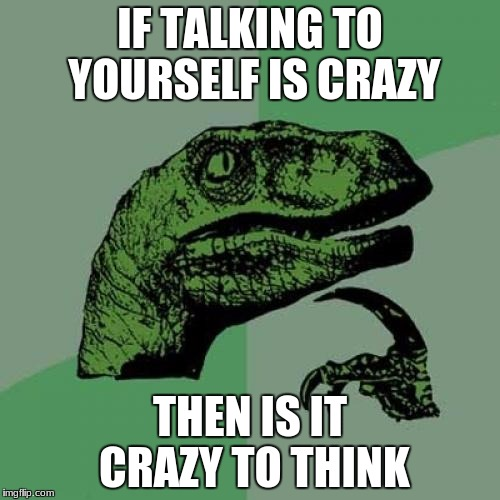 Yep.... | IF TALKING TO YOURSELF IS CRAZY THEN IS IT CRAZY TO THINK | image tagged in memes,philosoraptor,crazy,think,thinking | made w/ Imgflip meme maker