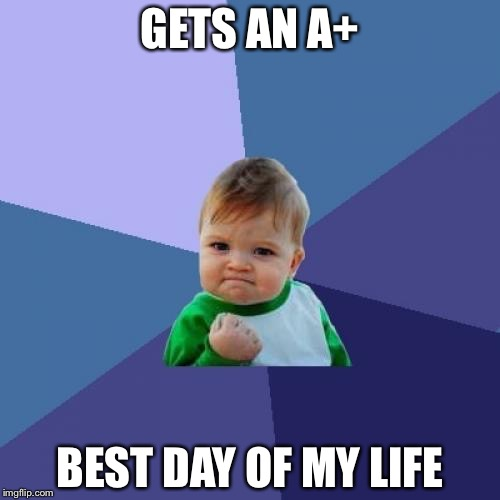 Success Kid Meme | GETS AN A+ BEST DAY OF MY LIFE | image tagged in memes,success kid | made w/ Imgflip meme maker