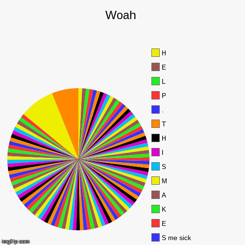 Woah |, S me sick, E, K, A, M, S, I, H, T, ., P, L, E, H | image tagged in funny,pie charts | made w/ Imgflip pie chart maker