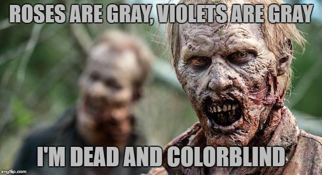 ROSES ARE GRAY, VIOLETS ARE GRAY I'M DEAD AND COLORBLIND | made w/ Imgflip meme maker