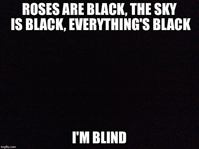 ROSES ARE BLACK, THE SKY IS BLACK, EVERYTHING'S BLACK I'M BLIND | image tagged in black,memes | made w/ Imgflip meme maker