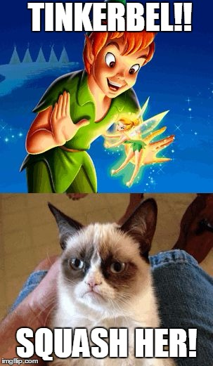 Grumpy Cat Does Not Believe | TINKERBEL!! SQUASH HER! | image tagged in memes,grumpy cat does not believe,grumpy cat | made w/ Imgflip meme maker