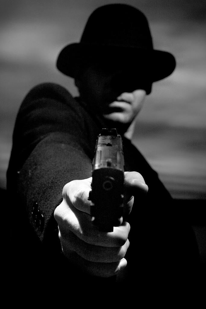 40549c66fb981 High Quality Dark Man Hat Gun Blank Meme Template